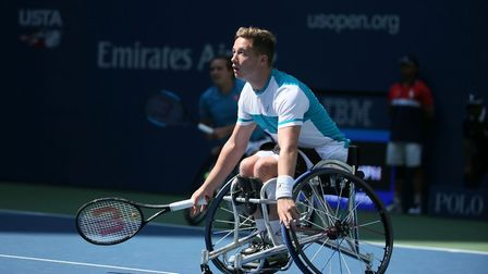 Alfie Hewett in action in the men's doubles semi-finals at the US Open. Picture: Tennis Foundation
