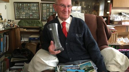 Michael Porter has been presented with an engraved vase by the Norfolk Children's Deaf Society. Pict