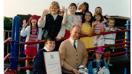 Michael Porter with his late wife Sylvia and members of the Norfolk Deaf Children's Society pictured