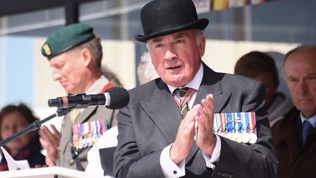 Lord Dannatt speaks at the service for D-Day at Arromanches. Picture: DENISE BRADLEY