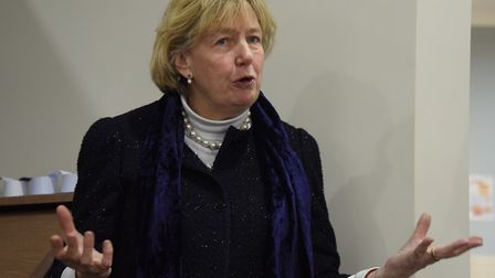 Lady Dannatt speaks before the opening of the new nursing suite at Cavell Court Nursing Home at Crin