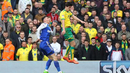Timm Klose of Norwich wins a header during a previous local derby. Picture by Paul Chesterton/Focus