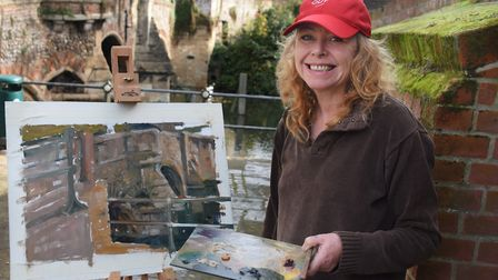 Sue Field taking part in Paint Out Norwich by Bishop Bridge. Picture: DENISE BRADLEY