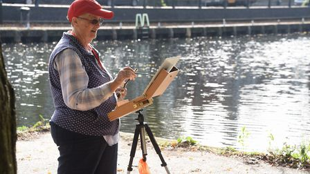 Sue Willmer taking part in Paint Out Norwich, painting Pull's Ferry. Picture: DENISE BRADLEY