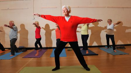 Former women's England cricketer Eileen Ash, now 100, she attends a Yoga class at the Dussindale cen