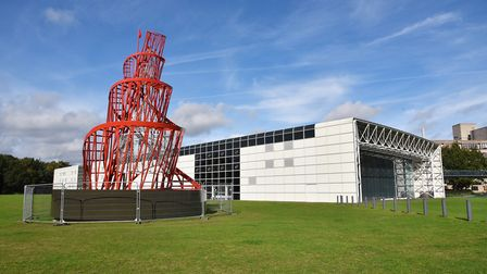 A replica of Tatlin's Tower outside the Sainsbury Centre for Visual Arts. The sculpture is part of t