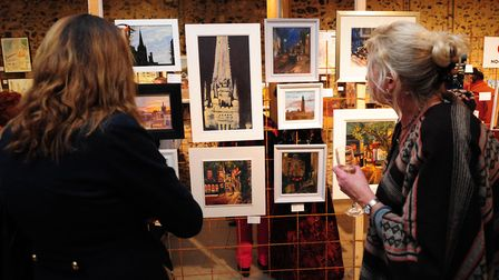 Paint Out Norwich 2016 exhibition private view at Norwich Cathedral's Hostry. Photo: Simon Finlay