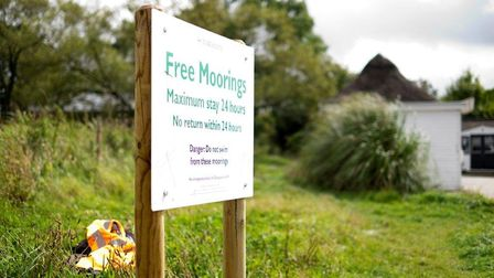 A sign advertising the moorings at Acle Bridge. Picture: Broads Authority