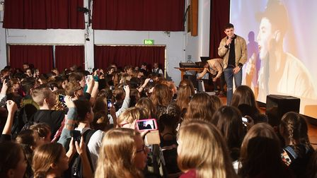 Brothers Leon and Alex Mallett return to Acle Academy to perform for the staff and students.Picture