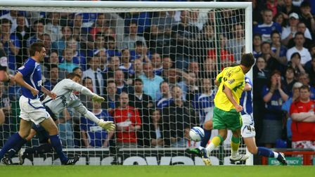 Andrew Surman scores the opener in Citys famous 5-1 win at Portman Road in 2011. Picture: Focus Ima