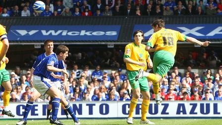 David Mooney scores the opening goal at Portman Road during Citys 3-2 defeat in 2009  the last tim