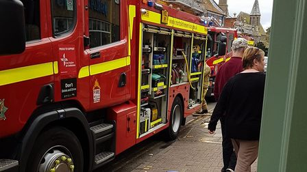Fire brigade outside Byfords today (Picture: Frank Shackloth)