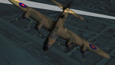 A recreation of that fateful night by Kim Collinson. The Stirling bomber was a victim of friendly fi