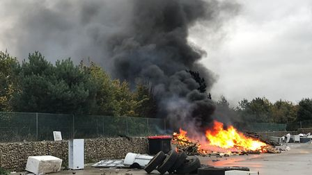 Norfolk Fire and Rescue responsed to a fire behind Costessey Park and Ride. Picture: Josh Farrow