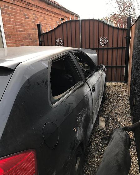 Father offers reward after his son's car is torched outside family home in Wisbech. Photo: Paul Denn