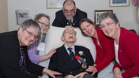 Tony Bilverstone, surrounded by his five children, in 2017. Picture: Courtesy of Brian Bilverstone