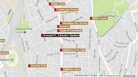 A map of the nearest pubs to the Emirates Stadium in London (Photo: Google)