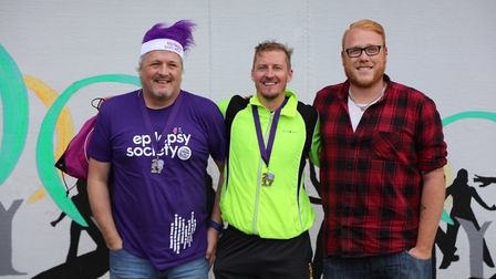 Graham Laycock, Tom Bobbins and Paul Mackmin with their medals after completing the run. Picture: Ge