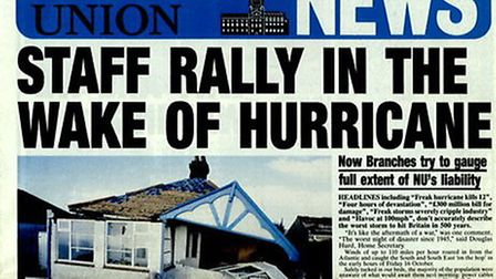 The front page of a Norwich Union staff newspaper following the Great Storm of 1987. Image: Courtesy