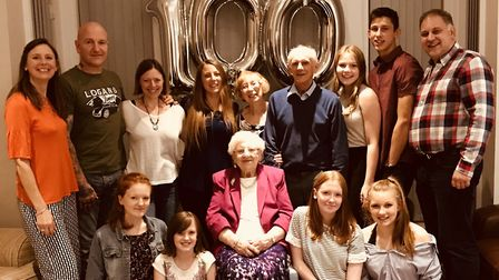 Mary Howarth celebrates her 100th birthday with her family. Picture supplied by Karen Dougherty