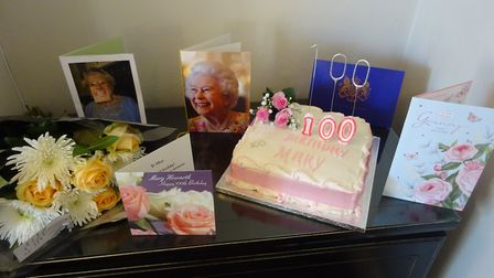 Mary Howarth's 100th birthday cake and cards. Picture supplied by Karen Dougherty