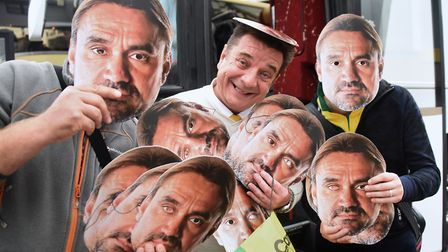 Steward Bryan Clapham with the Daniel Farke masks he is giving out to Norwich City fans heading to A