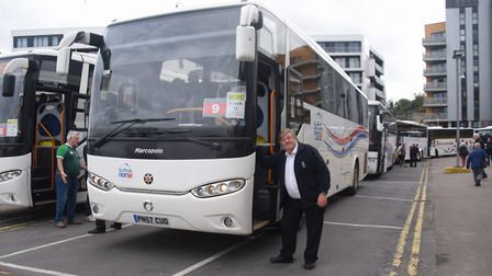 The coaches for the Norwich City fans bound for the Emirates Stadium and the Arsenal match. Picture: