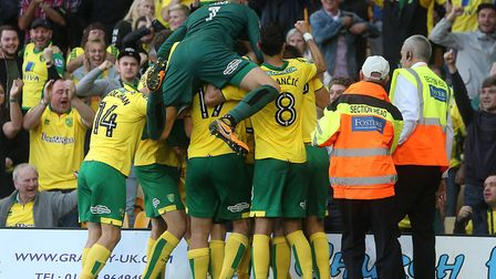 City keeper Angus Gunn joined in with the celebrations after Nelson Oliveira's late equaliser. Pict