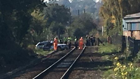 The car which was struck by a train at Melton train station. Picture: GEMMA MITCHELL