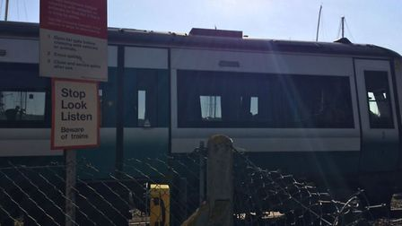 A train between Woodbridge and Melton was in collision with a car at a level crossing (Picture: Jon