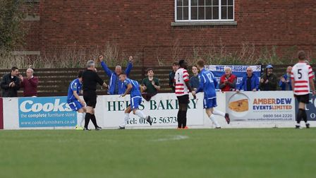 Jake Reed celebrates his second goal of the game against Kingstonian. Picture: Shirley D Whitlow