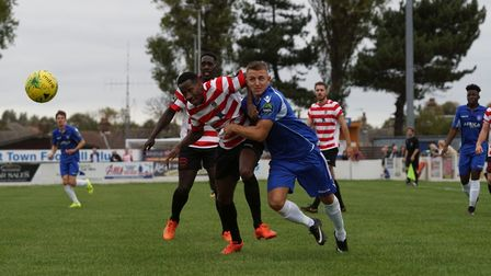 Two-goal hero Jake Reed battles for possession. Picture: Shirley D Whitlow