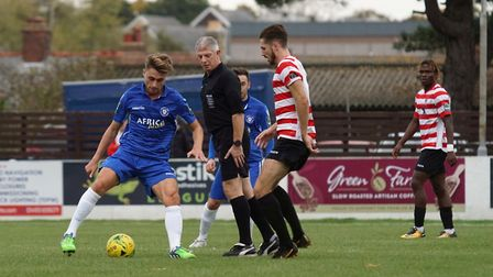 Lowestoft's Sam Borrer takes control against Kingstonian. Picture: Shirley D Whitlow