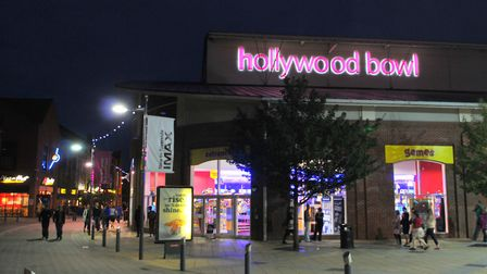 Hollywood Bowl part of Norwich Riverside complex at night. Photo: Steve Adams