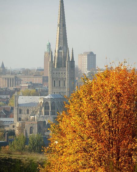 Autumn in Norwich as the leaves turn golden and clear blue skies bring out the vivid colours on Mous