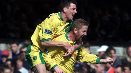 Iwan Roberts celebrates with Chris Llewellyn. Picture: Archant