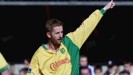 Iwan Roberts salutes City's travelling supporters after making it 2-0 against Ipswich in 2000. Pictu