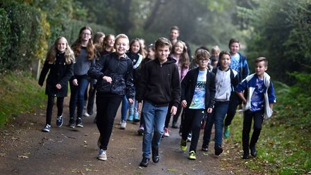 Hellesdon High School students on a charity walk at Blickling. Picture: ANTONY KELLY