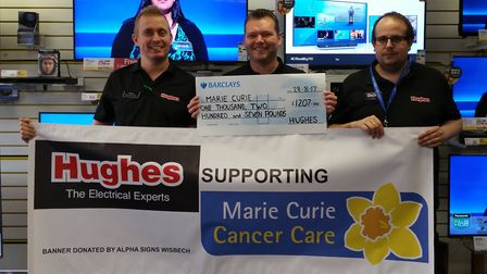Front left, Stephen Holt, David Youngs and Adam Gray from Hughes in Wisbech who raised funds for Mar