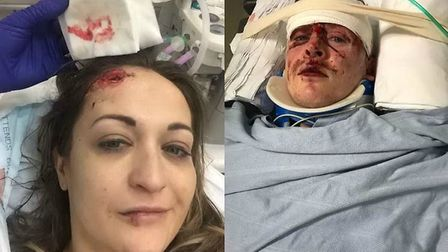 Estelle Boon and Jonathan Cleaver after the crash. Picture Estelle Boon