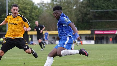 Cruise Nyadzayo will be hoping to be on target again this afternoon after scoring against Merstham l
