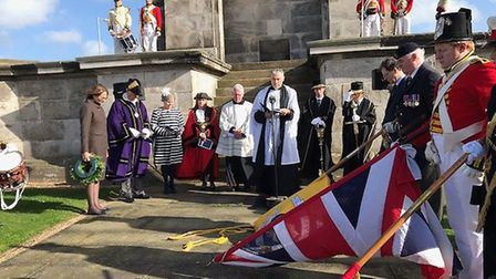 Trafalgar Day service at Nelson's monument in Great Yarmouth. Photo: Niamh Payne
