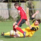 Action Long Stratton's 2-0 win over Waveney. Picture: Steve Wood