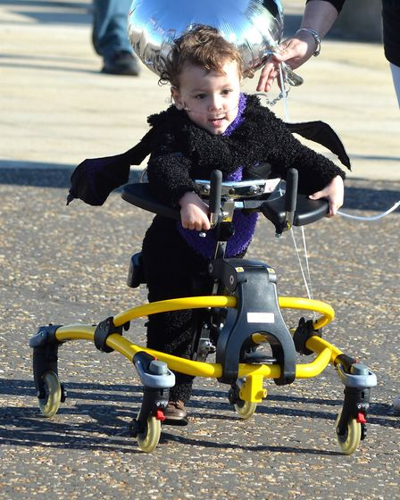 Two-year old Cohen Messenger walked from South Pier to Claremont Pier this weekend, to help raise mo