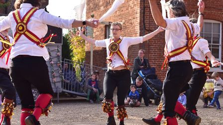 Apple Day at Gressenhall Farm and Workhouse museum of Norfolk Life.Gold Star Morris entertain the c