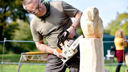 Apple Day at Gressenhall Farm and Workhouse museum of Norfolk Life.Chainsaw sculptor Shaun Gilbert.