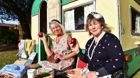 Apple Day at Gressenhall Farm and Workhouse museum of Norfolk Life.Rose Lowe and Sally North enjoyi