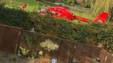 The air ambulance landed in Dereham this afternoon. Photo: Bradley James