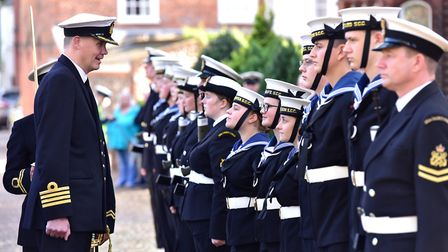 Captain of the Sea Cadets Phil Russell, inspects the troops before the Trafalgar Day Parade.Picture