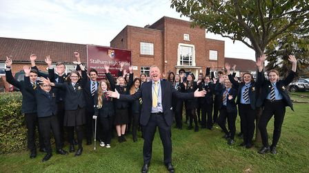 Stalham High School gets a good Ofsted report. Head of school Martin Budgett celebrating with studen
